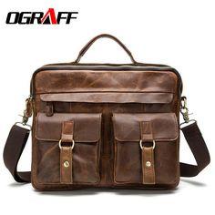 OGRAFF Genuíno bolsa de couro bolsas de grife de alta qualidade saco crossbody tote pastas marca de negócios dos homens saco do mensageiro Do Couro