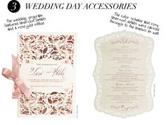 laser-cut details and a rose gold ribbon. The color scheme and rosy laser-cut details were carried through to the menus as well.