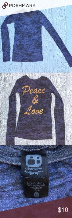 "Dark blue and black long sleeve top Dark blue and black heather long sleeve top with ""Peace & Love"" on back. Very thin and soft! Good used condition! Alternative Apparel Tops Tees - Long Sleeve"