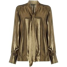 Designer Clothes, Shoes & Bags for Women Pussybow Blouse, Trendy Fashion, Fashion Outfits, Metallic Blouses, Golden Glitter, Piece Of Clothing, Aesthetic Clothes, Shirt Blouses, Evening Gowns