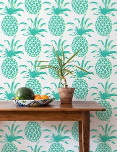We offer over 40 designs of modern decorative designer wallpaper, designed in Brooklyn, NYC. All of our designer wallpaper is made to order. Eclectic Wallpaper, L Wallpaper, Designer Wallpaper, Bright Wallpaper, Luxury Wallpaper, Wallpaper Patterns, Custom Wallpaper, Pineapple Deco, My New Room