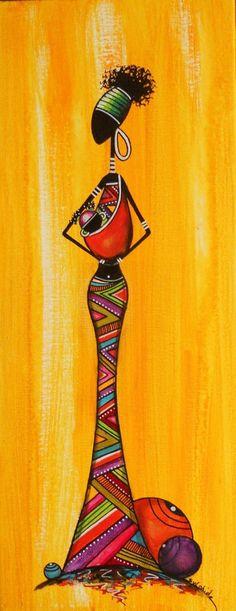 Description:C'est un tableau peint à l'acrylique d'une maman africaine tenant un bébé. La dame porte une longue robe avec des rayures diagonales vertes, bleues, roses, jaunes, mauves, blanches, rouges et orange. Elle porte aussi un bandeau vert dans ses cheveux. En bas, il y a trois boules: une petite bleue, une moyenne mauve et une grosse orange rouge. Appréciation:J'adore cette toile, car elle est colorée et pleine de vie. J'aime les couleurs vibrantes et l'originalité de cette toile…