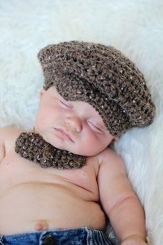 baby boys hat crochet tweed driver's cap brown by cutiepiegoodies, $27.00