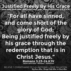 """""""For all have sinned, and come short of the glory of God; Being justified freely by his grace through the redemption that is in Christ Jesus: Whom God hath set forth to be a propitiation through faith in his blood, to declare his righteousness for the remission of sins that are past, through the forbearance of God; To declare, I say, at this time his righteousness: that he might be just, and the justifier of him which believeth in Jesus."""" Romans 3:23-26 KJV  ✞Grace and peace in…"""