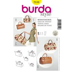 Make these great travel bags, be they large or small, in different prints and designs. Make yours in fabrics that are easy to pick out in crowded travel areas. A Burda Style sewing pattern. Burda Sewing Patterns, Bag Patterns To Sew, Sixties Style, Carpet Bag, Patterned Carpet, Simple Bags, Simplicity Patterns, Style Patterns, Fabric Decor