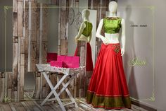 SC620: Red and green crop top lehenga!!!  To order please call/ WhatsApp on 9949944178 or mail us @issadesignerstudio@gmail.com 20 July 2016