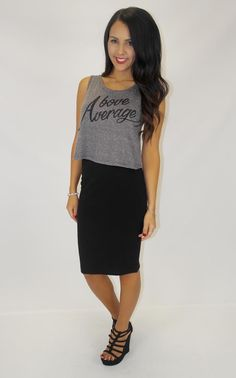 Junky Trunk Boutique. Above Average Cropped Tank (grey-blk)