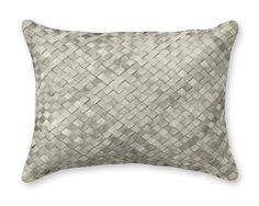 "Woven Leather Hide Pillow Cover, knife-edge finish, 12"" x 16"" Williams sonoma home"