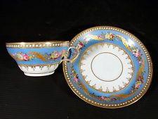 Tasse & sous-tasse porcelaine Paris XIX signées Duchemin Bvd Poissonniere peint