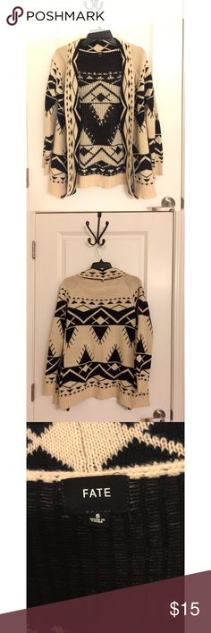 Fate Aztec Flyaway Sweater - Size Small Fate flyaway sweater bought from Ivy and Leo. Black and cream / off white. Perfect condition! MUST HAVE for fall and winter! Size small. Sorry, no trades! Fate Sweaters