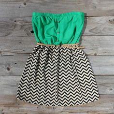 green & chevron printed dress