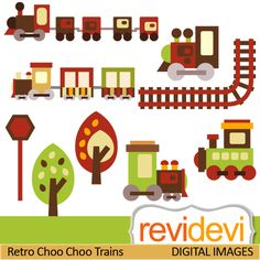 Choo choo trains cliparts in retro colors.  These   digital images are  great for any craft and creative  projects