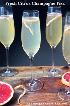 Fresh Citrus Champagne Fizz - a delicioius and easy champagne cocktail Champagne Drinks, Sparkling Drinks, Cocktails, Plant Based Nutrition, Nutrition Tips, Champagne Region, Cheese Pairings, Grapefruit Juice, Cocktail