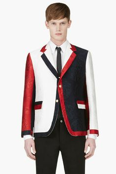 THOM BROWNE // White, Red & Navy Jacquard Blazer