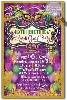 Mardi Gras Masquerade 40th Birthday Invitations, expertly printed on metallic paper and artfully hand-mounted on gorgeous metallic shimmer gold 120# card stock. Truly stunning in person and perfect for your Mardi Gras 40th birthday celebration!