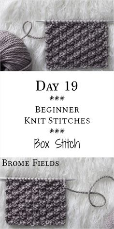 Box Knit Stitch : Day 19 of the 21 Days of Beginner Knit Stitches : Brome Fields., # diy knitting projects beginners Box Knit Stitch : Day 19 of the 21 Days of Beginner Knit Stitches : Brome Fields. Beginner Knitting Patterns, Knitting Stiches, Knitting Blogs, Knitting For Beginners, Free Knitting, Crochet Patterns, Knitting Tutorials, Knitting Ideas, Free Scarf Knitting Patterns