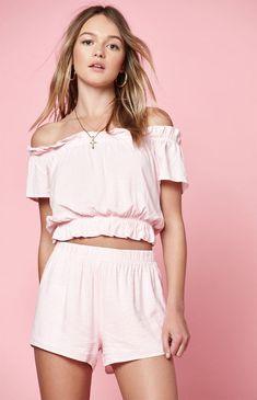 d695051aa5864 New Womens Lottie Moss Pink Plaid Off Shoulder Tie Back Blouse Crop Top Sz  Small