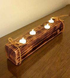 Wooden Tea Light Holder, Wooden Candle Holders, Wooden Projects, Wooden Crafts, Handmade Home Decor, Handmade Wooden, Rustic Light Fixtures, Rustic Lighting, Wooden Decor