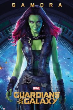 A new Guardians of the Galaxy poster for the upcoming Marvel film gives us a close-up look at Zoe Saldana as the alien assassin Gamora. Films Marvel, Marvel Dc Comics, Marvel Characters, Poster Marvel, Marvel Funny, Zoe Saldana, Gamora Guardians, Gamora Marvel, Galaxy Photos