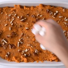 Here is my version of the traditional sweet potato casserole. with brown sugar pecan topping is easily my all-time-favorite Thanksgiving side dish! Sweet potatoes are mixed with cinnamon, nutmeg, chop Best Sweet Potato Casserole, Yam Or Sweet Potato, Potatoe Casserole Recipes, Sweet Potato Recipes, Brown Sugar Sweet Potatoes, Yam Casserole, Mini Marshmallows, Sweet Potatoes With Marshmallows, Recipes With Marshmallows