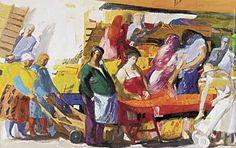 Street market (3) by Panayiotis Tetsis Greece Painting, Post Impressionism, Greek Art, Art Database, Conceptual Art, Art Music, Printmaking, Carnival, Watercolor