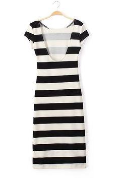 Black & White Fitted Stripe Midi Scoop Back Body Con Dress