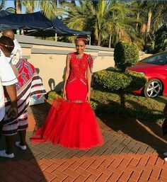Gorgeous red bridal dress fit for a Venda Princess African Bridesmaid Dresses, African Wedding Attire, African Print Dresses, African Attire, African Fashion Dresses, African Dress, Bridal Dresses, Wedding Gowns, African Wear