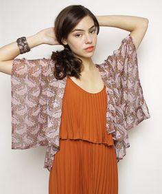 Sheer Print Kimono