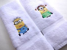 Pair MINION His/Hers Hand Towels White Cotton, Great Fun - pinned by pin4etsy.com
