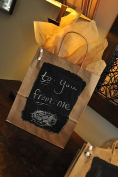 Three Chalkboard Gift Bags with Tissue and Chalk