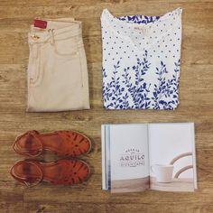 Para tardes deliciosas ☕️ #lojaamei #look #sandalia #etiquetaamei #blusinha #jeans