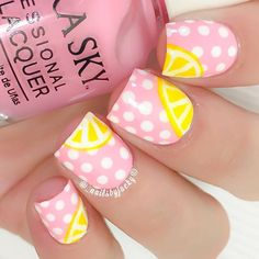 "Solo shot of this design done with @glittr for our #BestieTwinNails Base color polish is from @kiaraskynails ""Chatterbox"". I used yellow and white acrylic paint to create the lemon design and polka dots. Nail art brushes used are from @Twinkled_T ✨ You can get nail art items, vinyls/ stickers and more from their online shop ➡️www.TwinkledT.com⬅️ Use my code 'JACKY' for 10% off your entire purchase! ✨ Top coat: #DazzleDry from @whatsupnails."