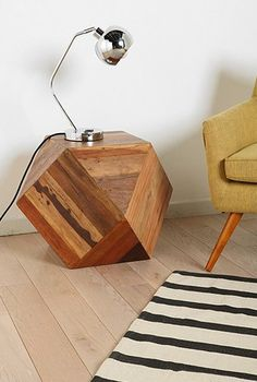 Faceted Woodblock Side Table - TryAngle Living