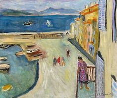 """lilithsplace: """"The end of the harbour of Saint-Tropez. Figure on the balcony, 1953 Charles Camoin (1879–1965) """""""