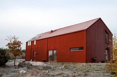 Our Red Barn in Strängnäs, Sweden Farmhouse Architecture, Wooden Architecture, Architecture Design, Wooden Facade, Modern Barn House, Metal Building Homes, Building Materials, A Frame House, Shed Homes