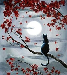 Black cat painting with moon and Autumn trees. Beginner canvas painting.
