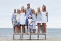 Nantucket family beach portrait. Dress in blues for a beach portrait!