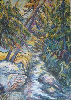 Tatranský potok, olej na plátne 95 x 65 cm, Pavel Huszár, Banská Bystrica, Slovakia
