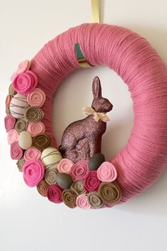 Chocolate Rabbit Wreath, Pink Wreath, Bunny Wreath, Easter Wreath, Faux Chocolate Themed Wreath