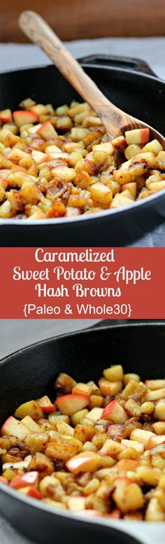 Paleo - Caramelized sweet potato hash with apples - and friendly - that you can make with a white, Japanese, or classic sweet potato - so simple and incredibly delicious! - It's The Best Selling Book For Getting Started With Paleo Whole 30 Breakfast, Paleo Breakfast, Breakfast Recipes, Breakfast Casserole, Breakfast Ideas, Sweet Potato Breakfast, Savory Breakfast, Breakfast Burritos, Brunch Recipes