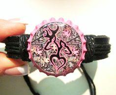 Camo Browning Deer Buck and Doe Heart on Pink Bottlecap Black Adjustable Bracelet