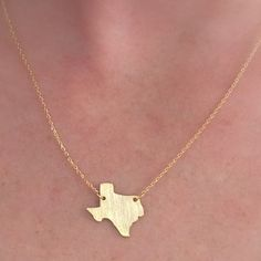 "adorable textured Texas Necklace gold, rose gold or silver plated over brass charm measures .75"" x.75"" 16"" chain"
