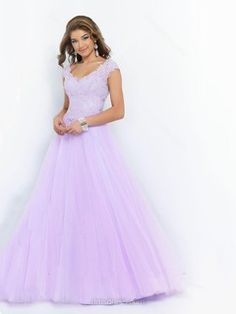 Princess Cap Straps Lavender Satin Tulle Beading V-neck Prom Dresses -$163.19