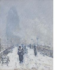 """Bridge in Snow (Brooklyn Bridge in Winter),"" Childe Hassam, ca. oil on canvas, 31 × 24 Des Moines Art Center. Edouard Manet, Pointillism, American Artists, Brooklyn Bridge, Monet, Impressionist, Iowa, Photo Credit, Landscape Paintings"