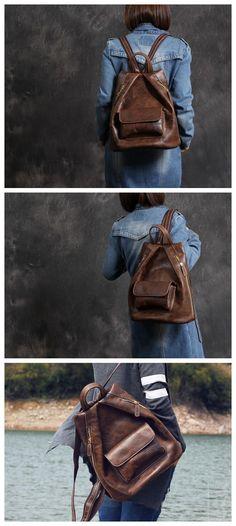 Women's Leather Backpack Purse Shoulders Bag Travel Bag Daypack