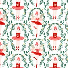 nutcracker ballerina // nutcracker ballet nutcracker christmas xmas holiday xmas red and pink ballet christmas fabric by andrea lauren fabric by andrea_lauren on Spoonflower - custom fabric