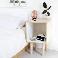 A minimal plywood table that looks perfect next to your bed OR your couch!