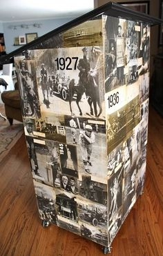 This is such a great idea!!  I love this!  Her husband is a high school teacher and he made this for his classroom and they mod podged all those pics on it and then sanded and inked them and sealed it....love it!