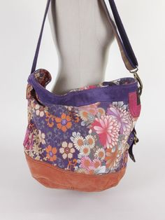 LUCKY BRAND Boho Hippie Suede Floral School Bag Hobo Purse Shoulder Crossbody #LuckyBrand #Hobo