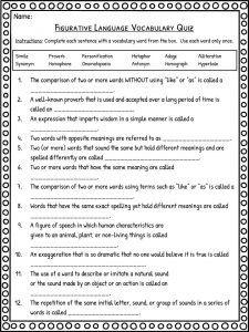 Figurative Language Worksheet Set of 12, Middle Grades for ...